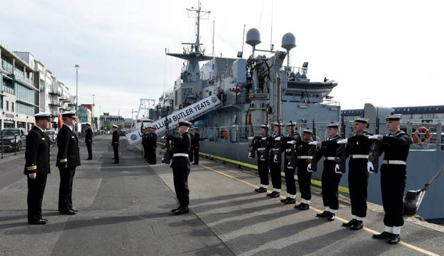 The Public Service Pay Commission is likely to propose increases in military service allowances for Army personnel and to patrol duty allowances for Naval Service members, sources said. Above L.É. William Butler Yeats annual inspection recently held in the Port of Galway.