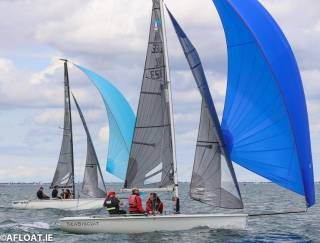 Sea Biscuit (Marty Cuppage, Barry Glavin and Niall O'Riordan) are 13th at the SB20 Nationals on Dublin Bay