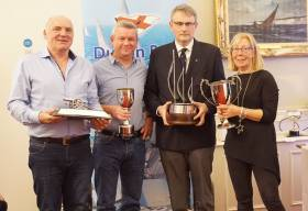 The George Arthur Newsom Cup, for the most successful Yacht in one-design classes was presented to Flying Fifteen duo David Gorman (second from left) and Chris Doorly (left) by DBSC Commodore Jonathan Nicholson and Vice Commodore Ann Kirwan. Scroll down for photo gallery