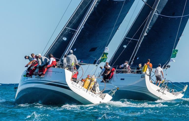 The First 45 Elusive 2 (left) and the xP44 Expresso dicing for it shortly after the start of the Rolex Middle Sea Race. Their fates could not have been more different – Expresso was an early retiral with a broken forestay, while the Podesta family's Elusive 2 has just taken over the overall IRC lead at the Lampedusa turn