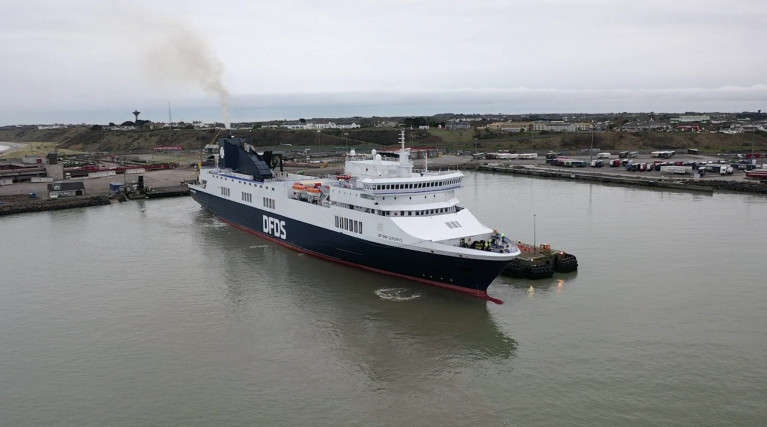First DFDS Freight Ferry for New Rosslare Europort-Dunkirk (France) Route Makes Berthing Trials