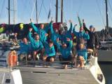 A tired but elated crew on Nick and Suzi Jones' First 44.7 Lisa, skippered by RORC Commodore Michael Boyd