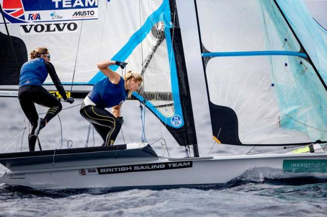 Charlotte Dobson sailing with Royal Irish Yacht Club crew Saskia Tidey (right) share the lead in Palma after day one