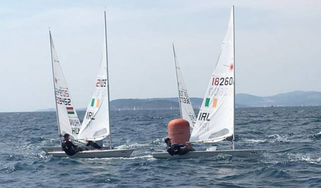 Laser sailors Finn Lynch and Liam Glynn racing in Croatia last week