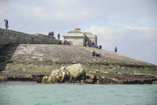 A large piece of stonework has been dislodged from the roundhead apron at Dun Laoghaire's West Pier
