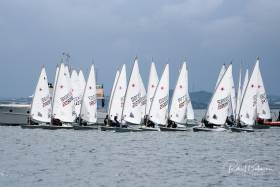 Tight start in the first race of the 28-boat Laser Radials at the Irish Sailing Youth Nationals in Cork Harbour today. Scroll down for photo gallery