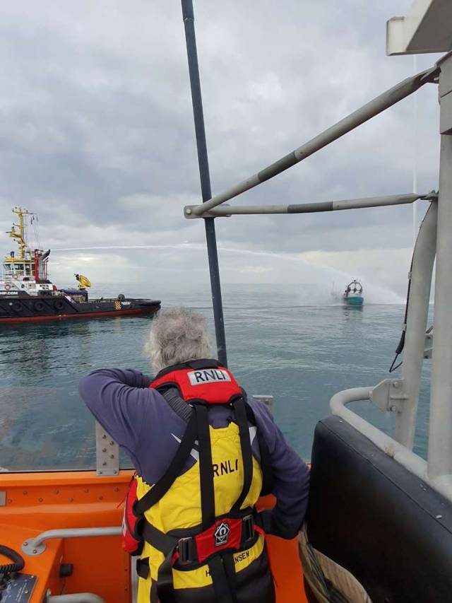 Arklow & Wicklow RNLI Involved in Rescue of Fishermen from boat on Fire