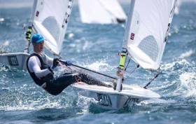 Ewan McMahon was one point behind Finn Lynch at Portland Harbour UK Laser event