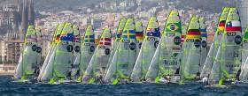 Super conditions for the first races of the 49er Europeans in Barcelona