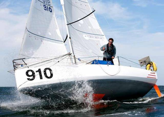 Tom Dolan in his Pogo 3 IRL 910, in which at sixth overall in November 2017, he was the highest-placed Irish sailor ever in the biennial Mini-Transat. He has now moved up to the Figaro Solo, and this week in training with the Figaro 2 in Lorient, he recorded his first win.
