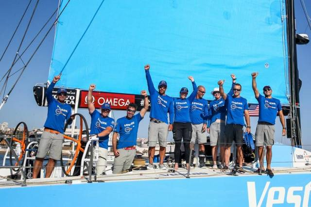 A victorious Vestas 11th Hour Racing crew in Lisbon this afternoon