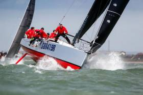 Scoring three bullets on the first day of racing in the IRC National Championship, Ed Fishwick's Sun Fast 3600 was star performer