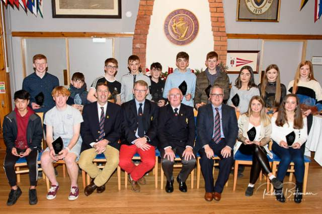 Laser and Toppers winners with Class Captains Diarmuid Lynch, Clayton Kohl, Admiral Pat Farnan and Rear Admiral dinghies Brian Jones. Scroll down for more photos