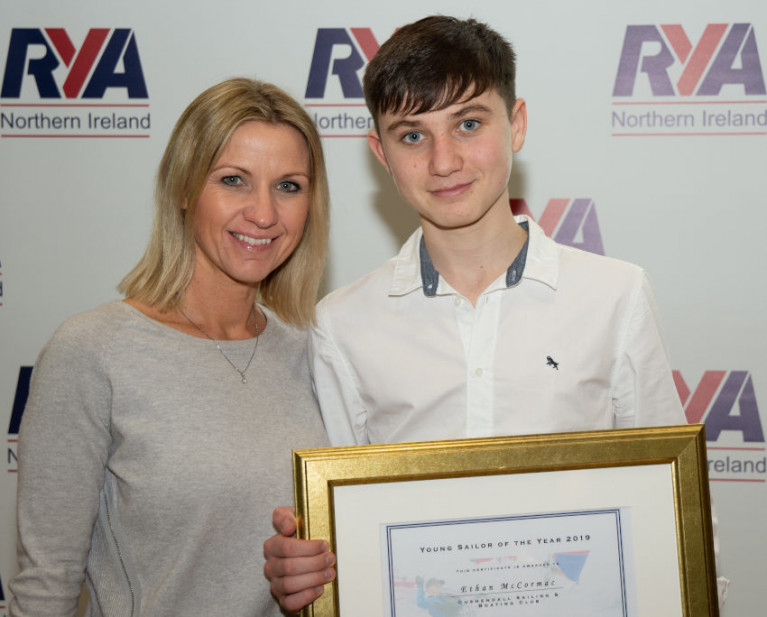 RYANI's Young Sailor of the Year Ethan McCormac with his mum Lisa
