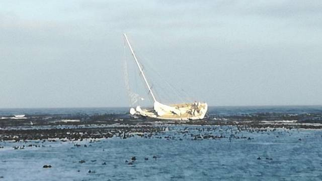 Greenings pictured aground west of the Cape Peninsula earlier today