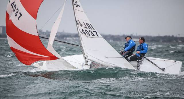 A big gust hits Andy McCleery and Colin Dougan in the last race of the Flying Fifteen Nationals on Dublin Bay