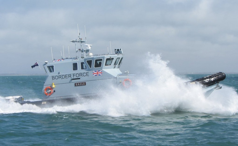 UK Waters: The Home Office said at least 480 migrants attempted to cross the English Channel on Sunday, where AFLOAT adds above is a UK Border Force Coastal Patrol Cutter (CPV) Eagle. The agency has staff at airports and ports among them a base in the Port of Dover. The next busiest ferryport in the UK is Holyhead, Wales where Afloat tracked just over a month ago another such craft, CPV Active which departed Liverpool to arrive at Holyhead Boatyard. Also in port were a pair of Royal Navy 'Archer' class training boats, HMS Biter (P270) and HMS Charger (P292) which departed Holyhead Marina in the west of the harbour and when bound for Liverpool. Today another Archer class HMS Tracker (P274) is berthed at the facility.