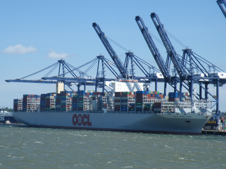 Asian-Europe trade where an operator Overseas Orient Overseas Container Line (OOCL) recently responded to the expected low demand in the market. AFLOAT also adds in our photo of the G-Glass leadship OOCL Hong Kong (21,413 TEU capacity) when built in 2017 was the largest in the world, is seen above berthed at the Port of Felixstowe in the UK. Currently the giant vessel is in the Mediterranean Sea on a voyage from Europe bound for Asia, having yesterday departed Piraeus, Greece.
