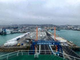 A view taken from the top deck of W.B. Yeats when berthed bow-on in Cherbourg, France yesterday at the port's No.4 linkspan. To celebrate the 'maiden' crossing and to mark the St. Patrick's Day weekend, the port in Normandy was lit-up in the emerald green of Ireland, much to the delight of passengers and crew.