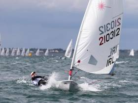 Out on her own – Nicole Hemeryck in top form at the KBC Laser Youth Worlds in Dublin Bay in July.