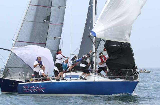 Howth Yacht Club's Checkmate XV, skippered by Dave Cullen, in light airs racing yesterday