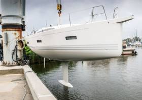 The new X4° lowered into the water at the X-Yachts factory in Denmark