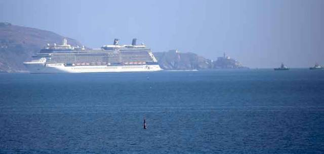The 313–metre Celebrity Eclipse, twice as long as Croke Park, and as seen from Dun Laoghaire, passes Howth Head on her way into Dublin Port this morning