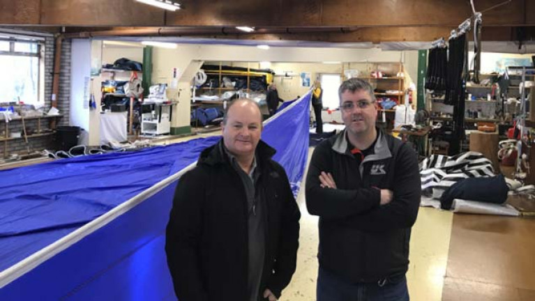 Harry Lewis (left) and Barry Hayes  at a busy UK Sailmakers Ireland loft in Crosshaven