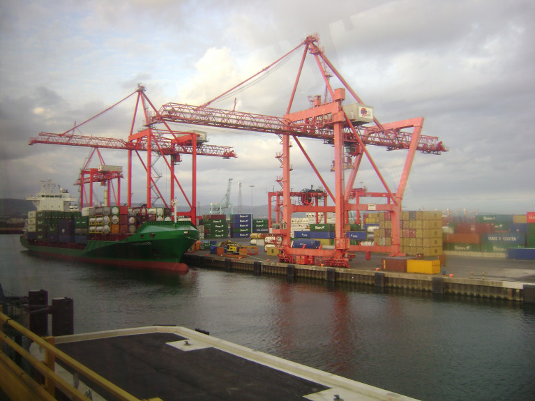 Chinese Heavy-Lift Ship With Straddle-Carriers from Africa Calls to Dublin Port Container Terminal