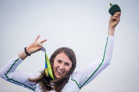 Annalise Murphy on the podium in Rio with her silver medal in the Laser Radial