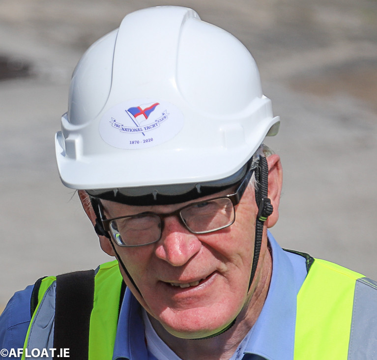The Gaffer. National YC Commodore Martin McCarthy looking the part in a super-cool hard hat as he leads his members in the COVID-delayed annual lift-in on Saturday