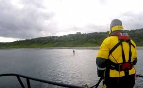 The paddleboarder was located safe and well and was happy to make his way back to Whitehead harbour. See vid below.