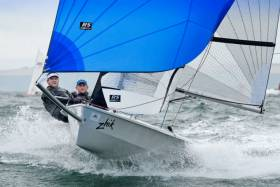 Alex Barry and Richard Leonard sailing in last month's RCYC Dinghy Fest