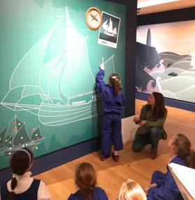 Making the Ilen concept child-friendly – young visitors to the Ilen Exhibition in the Hunt Museum in Limerick find that learning about the historic ketch can be fun