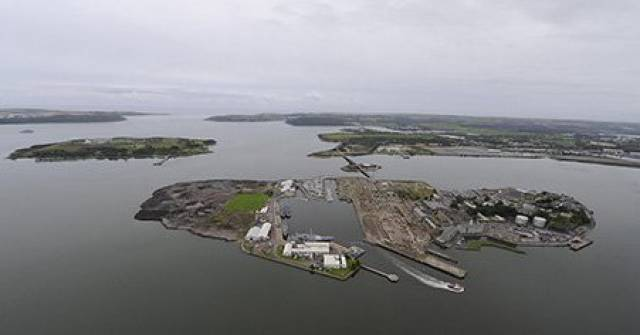 Haulbowline Island where the site of the public park that is to open is located at the East Tip (left side) noting this file photo Afloat adds shows waste deposits mounds from the former Irish Steel Plant.