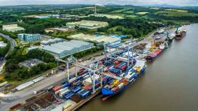 Belview, the Port of Waterford's main terminal that adjoins the Belview Industrial Zone in south Co. Kilkenny. Containerships, short-sea traders and bulk-carriers use the facility located downriver of Waterford city.