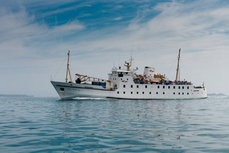 UK 'domestic' waters islands serving veteran passenger/cargo ferry Scillonian III underway in the Scilly Isles linking Penzance in Cornwall, south-west England. Specialist ship designer BMT has a contract to design a new vessel to travel for the coastal service to the island archipelago off Land's End.