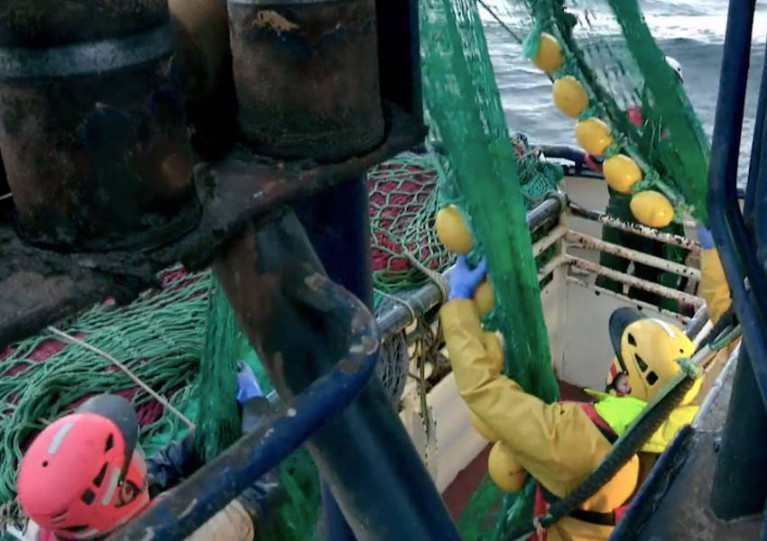Scene from one of the many trawlers filmed for the new series of Tabú on TG4