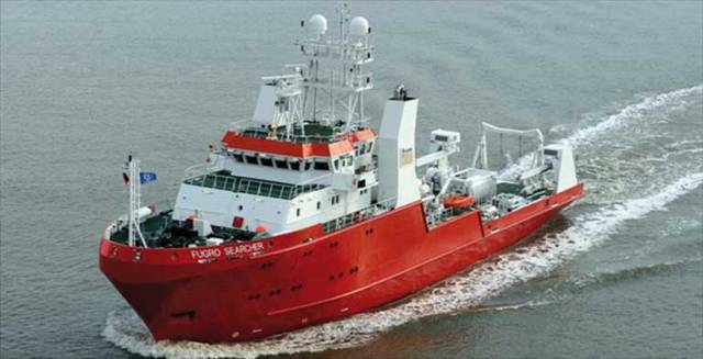 The Fugro Searcher (call sign: 3EUY6) is scheduled to carry out the work