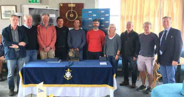 Prize winners at the Laser Masters in Ballyholme with event organiser Claire Storey and Rear Commodore Ruan O'Tiarnaigh