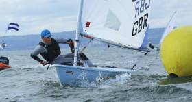 Rounding a mark at the Irish Laser Nationals on Belfast Lough