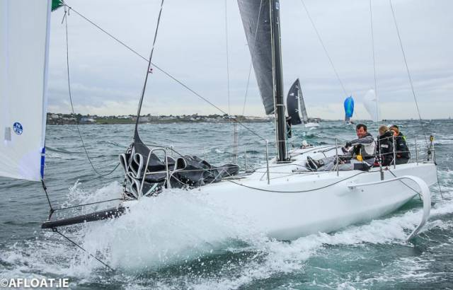 Conor Fogerty's new foiling Figaro 3 'Raw' at the start of the Dun Laoghaire to Dingle Race