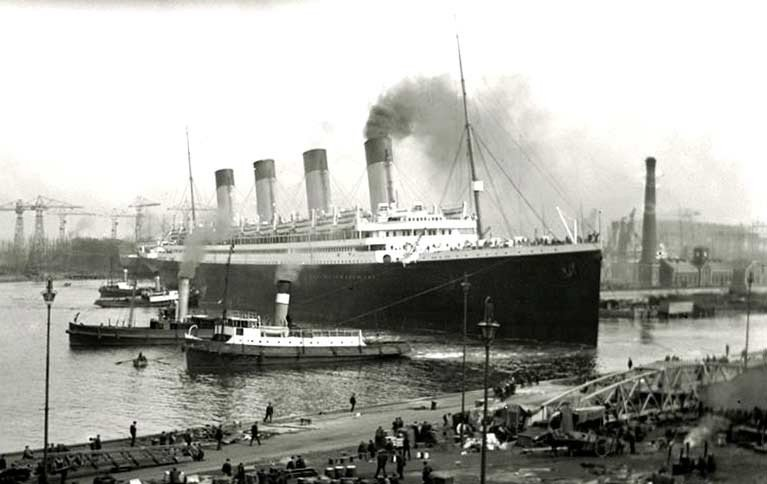 Historic departure – the ill-fated Titanic is manoeuvred out of her berth in Belfast Harbour on April 2nd 1912 to sail for Southampton and her maiden Transatlantic voyage, brought to a tragic end by an iceberg in mid-ocean just twelve days later