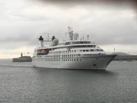 The small cruiseship Star Legend (212 guests) AFLOAT adds is seen on arrival to Dun Laoghaire Harbour. A pair of sisters are among 6 cruiseship calls this season that will visit the Victorian built harbour.