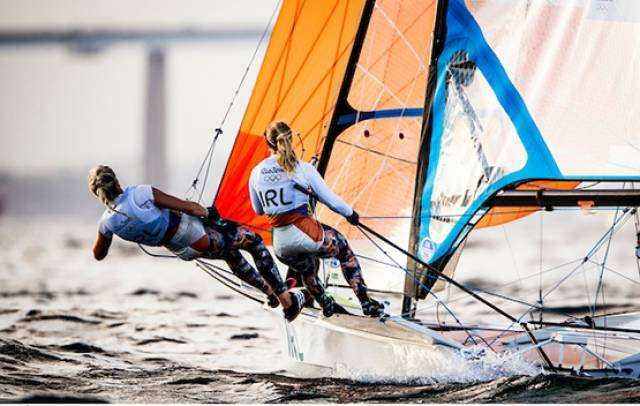 Andrea Brewster and Saskia Tidey are fifth overall after two races in the 49erfx in Rio