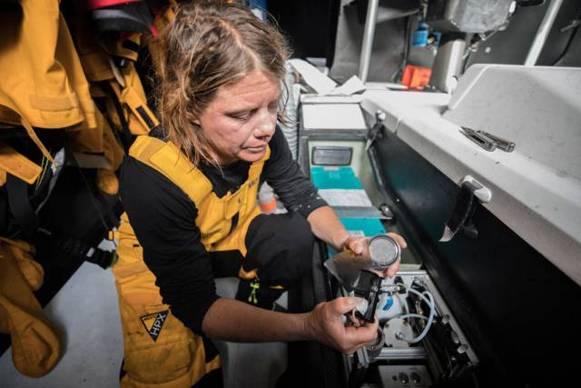 Liz Wardley pictured last December on board Turn the Tide on Plastic, one of two vessels recording data for the Volvo Ocean Race Science Programme
