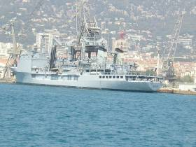 Command and tanker ship Somme in Toulon. The Mediterranean port is one of several bases of the French Navy.