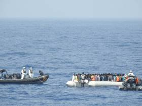 RIBs deployed from LE Roisin carry out the rescue of refugee migrants off Libya at the weekend