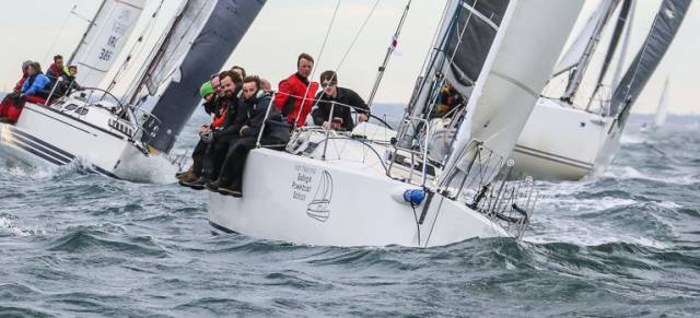 The Irish National Sailing School's Jedi (skippered by Kenny Rumball pictured above in red) is vying for the overall ISORA points lead but this weekend's Lyver race has been deferred