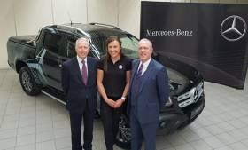 Annalise Murphy with Stephen Byrne and Fergus Conheady of Mercedes-Benz, and her new X-Class pickup which is soon to be a familiar sight at 49er FX sailing events